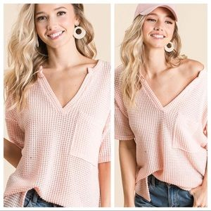 LET'S GO HOME WAFFLE KNIT TOP-BLUSH